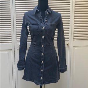 Gray denim fitted dress